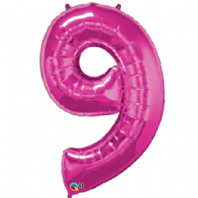 "Pink Number 9 Balloon - Foil Number Balloon 1pc (34"" Qualatex)"